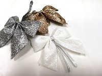 Mašlička mini glitter - bílá