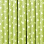 Brčka 10 ks - zelené s puntíky