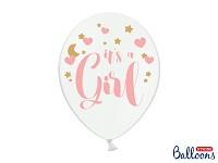 Růžovo-bílý balonek - je to holka - 1 ks