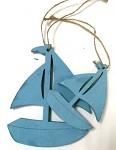 Plachetnice dřevěná - závěs - modrá