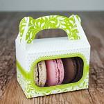 Krabička dárková s ouškem na makronky - zelená