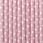 Brčka 10 ks - sv.růžové s puntíky