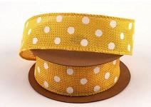 Dekorační stuha jutová drát - žlutá s bílými puntíky - 6,4m