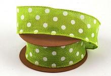 Dekorační stuha jutová drát - zelená s bílými puntíky - 6,4m