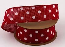 Dekorační stuha jutová drát - červená s bílými puntíky - 6,4m