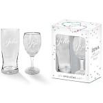 Svatební set - půllitr a sklenice na víno - jeho/její