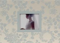 Svatební fotoalbum krémové se stříbrnými květy - 20x14 cm