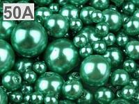 Voskované perly mix velikostí - tm. zelená
