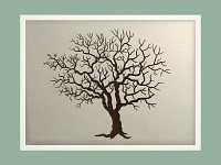 Svatební strom hostů horizont - bílý rám - 43x53 cm
