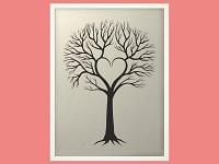 Svatební strom hostů - bílý rám - 43 x 53cm