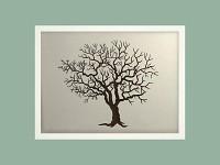 Svatební strom hostů horizont - bílý rám - 43 x 34 cm