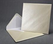 Obálka barevná čtverec 155 mm- ivory perleť