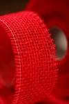 Stuha jutová 50 mm - červená - 1m