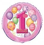Foliový balonek - 1. narozeniny růžové