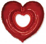 Foliový balonek - srdce červené s knírkem