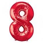 Foliový balonek maxi  - číslo - červený