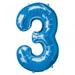 Foliový balonek maxi  - číslo - modrý