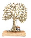 Dekorativní strom - mangové dřevo/kov metal zlatý - 28 cm