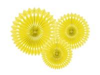 Rozety závěsné - žluté děrované - 3ks