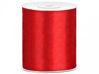Stuha satén 100 mm - červená - 1m