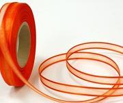 Šifonová stuha lemovaná  - 25mm - oranžová -1m