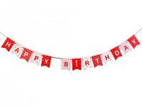 Girlanda papírová - HAPPY BIRTHDAY - červená
