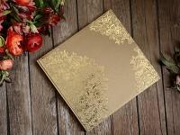 Svatební kniha hostů - natur se zlatým ornamentem