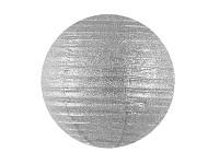 Lampion kulatý brokátový 35 cm - stříbrný
