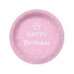 Party papírové talířky - fialové KULATÉ 18CM - 8KS