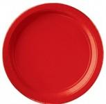 Party papírové talířky - červené KULATÉ 17,7CM - 8KS