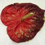 Hlavička anturie - červená se zlatými glitry