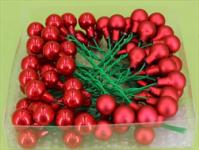 Baňky na drátku červená perleť 15 mm - 1ks - lesklé