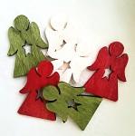 Dřevění andílci s hvězdičkou - 3 barvy - 6ks