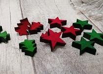 Dřevěné stromečky a hvězdy - zelenočervené - 12 ks