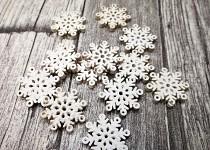 Dřevěné vločky mini - bílé - 12ks