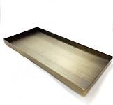 Aranžovací tác skleněný - čtverec - hnědostříbrný