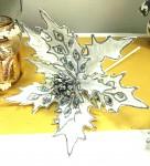 Vánoční hvězda - bílo-stříbrná 25cm