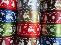 Stuha vánoční 40mm zlatá - se sobem a vločkami