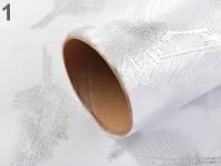 Organza šerpa se stříbrnými peříčky - 4,5m