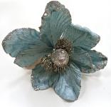 Květ magnolie - krémovo-stříbrný glitter