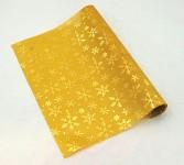 Role satén  - zlatá tisk s vločkami - 3m