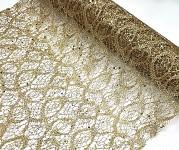 Pavučina třpytivá vzorovaná - zlatá - 36cm/1m