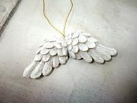 Závěsná křídla bílá glitter mini - 1ks