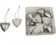 Srdíčko mini plechové - stříbrno-bílé - 1ks