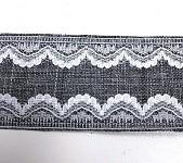 Dekorační stuha 40 mm - šedá s bílou krajkou