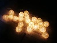Světelný řetěz koule krémové - 20ks