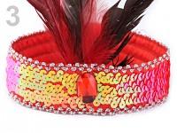 Čelenka charleston - červená s pérky
