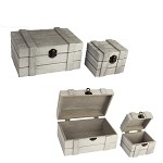 Dřevěná krabička (truhlička) vintage bílá - 20 cm