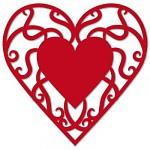 Papírové srdíčko červené malé - ornament - 20ks