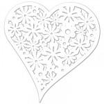 Papírové srdíčko bílé malé - květinové - 12ks